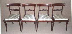 Set of four philadelphia mahogany saber leg side chairs for Furniture r us philadelphia
