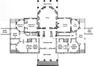 Symmetry and pairs in federal period furtniture design for Monticello floor plan